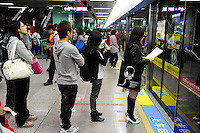 CHINA province Guangdong, city Guangzhou, metro train / VR CHINA , Metropole Guangzhou Kanton, U-Bahn