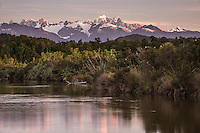 Sunset over Southern Alps from Okarito Lagoon, Westland National Park, West Coast, World Heritage Area, South Westland, New Zealand