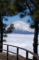 Mount Teide with a capping of snow and cloud.