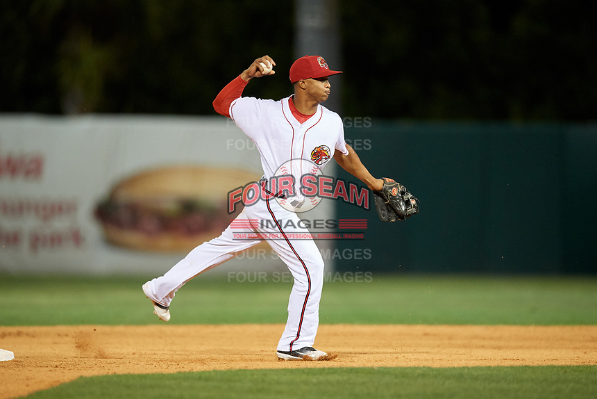 Florida Fire Frogs shortstop Ray-Patrick Didder (13) throws to first base during a game against the Palm Beach Cardinals on May 1, 2018 at Osceola County Stadium in Kissimmee, Florida.  Florida defeated Palm Beach 3-2.  (Mike Janes/Four Seam Images)