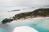 EXUMA, Bahamas. A view of Fowl Cay from the plane.
