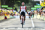 Thomas De Gendt (BEL) Lotto-Soudal from the breakaway wins Stage 8 of the 2019 Tour de France running 200km from Macon to Saint-Etienne, France. 13th July 2019.<br /> Picture: ASO/Alex Broadway | Cyclefile<br /> All photos usage must carry mandatory copyright credit (© Cyclefile | ASO/Alex Broadway)