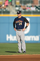 Tyler Austin (24) of the Scranton/Wilkes-Barre RailRiders prior to the game against the Charlotte Knights at BB&T BallPark on July 20, 2016 in Charlotte, North Carolina.  The RailRiders defeated the Knights 14-2.  (Brian Westerholt/Four Seam Images)