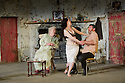 "London, UK. 22/07/2011. ""The Beauty Queen of Leenane"" by Martin McDonaugh returns to the Young Vic. Rosaleen Linehan as Mag Folan, Derbhle Crotty as Maureen Folan, and Frank Laverty as Pato Dooley. Photo credit: Jane Hobson"