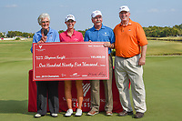 Cheyenne Knight (USA) is presented her ceremonial check by LPGA golfing legend, Kathy Whitworth following round 4 of the Volunteers of America Texas Classic, the Old American Golf Club, The Colony, Texas, USA. 10/6/2019.<br /> Picture: Golffile | Ken Murray<br /> <br /> <br /> All photo usage must carry mandatory copyright credit (© Golffile | Ken Murray)