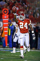 Chiefs CB Ty Law celebrates an interception in the first quarter against the Denver Broncos at Arrowhead Stadium in Kansas City, Missouri on November 23, 2006. The Chiefs won 19-10.
