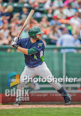 9 July 2015: Vermont Lake Monsters infielder Ryan Howell in action against the Mahoning Valley Scrappers at Centennial Field in Burlington, Vermont. The Lake Monsters rallied to tie the game 4-4 in the bottom of the 9th, but fell to the Scrappers 8-4 in 12 innings of NY Penn League play. Mandatory Credit: Ed Wolfstein Photo *** RAW Image File Available ****