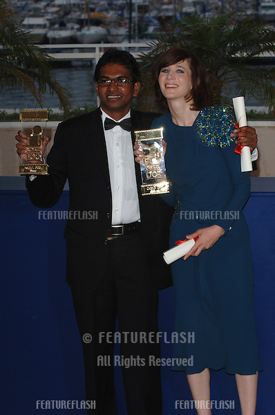 Directors MIRANDA JULY, joint winner of the Camera D'Or Award for her movie Me and You and Everyone We Know, and VIMUKTHI JAYASUNDARA, joint winner for Sulanga Enu Pinisa, at the Awards Ceremony & screening of Chromophobia at the 58th Annual Film Festival de Cannes..May 21, 2005 Cannes, France..© 2005 Paul Smith / Featureflash