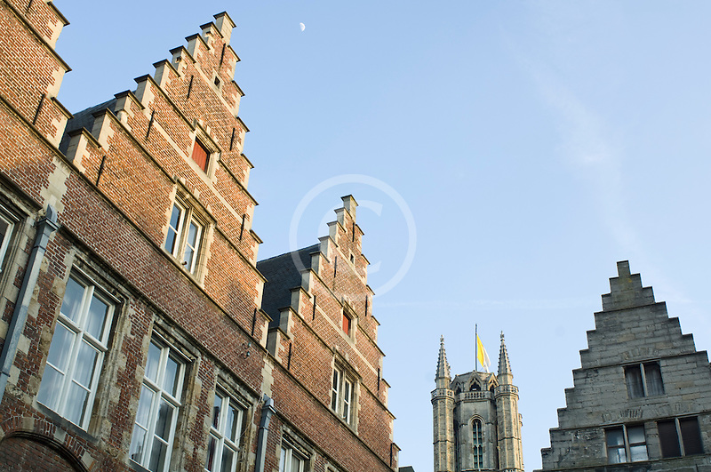 Belgium, Ghent, Gabled Gothic houses
