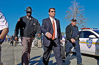 January 02, 2012:    Florida Gators head coach Will Muschamp leads his team into the stadium before the start of the 2012 Taxslayer.com Gator Bowl between the Florida Gators and the Ohio State Buckeyes at EverBank Field in Jacksonville, Florida.