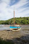 Yacht low tide Gillan Creek, Lizard Peninsula, Cornwall, England, UK