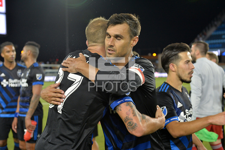 San Jose, CA - Wednesday August 29, 2018: Guram Kashia, Chris Wondolowski during a Major League Soccer (MLS) match between the San Jose Earthquakes and FC Dallas at Avaya Stadium.