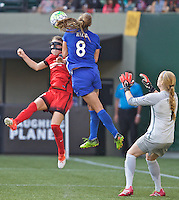 Portland, Oregon - Sunday September 4, 2016: Portland Thorns FC defender Emily Sonnett (16) and Boston Breakers defender Julie King (8) during a regular season National Women's Soccer League (NWSL) match at Providence Park.