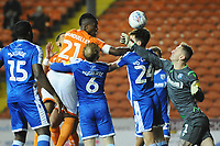 Blackpool's Armand Gnanduillet vies for possession with the Gillingham defence<br /> <br /> Photographer Kevin Barnes/CameraSport<br /> <br /> The EFL Sky Bet League One - Blackpool v Gillingham - Tuesday 11th February 2020 - Bloomfield Road - Blackpool<br /> <br /> World Copyright © 2020 CameraSport. All rights reserved. 43 Linden Ave. Countesthorpe. Leicester. England. LE8 5PG - Tel: +44 (0) 116 277 4147 - admin@camerasport.com - www.camerasport.com