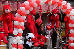 Palestinian vendors display flowers, red teddy bears, red ballons and pillows on Valentine's day in Gaza city on February 14, 2018. Valentine's Day is increasingly popular in the region as people have taken up the custom of giving flowers, cards, chocolates and gifts to sweethearts to celebrate the occasion. Photo by Ashraf Amra
