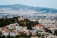 Greece, Athens. View from Acropolis. The National Observatory of Athens.