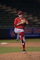 AZL Angels relief pitcher Christian Aragon (43) delivers a pitch during an Arizona League game against the AZL Padres 2 at Tempe Diablo Stadium on July 18, 2018 in Tempe, Arizona. The AZL Padres 2 defeated the AZL Angels 8-1. (Zachary Lucy/Four Seam Images)