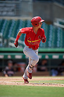 Palm Beach Cardinals left fielder Scott Hurst (7) runs to first base during a game against the Jupiter Hammerheads on August 5, 2018 at Roger Dean Chevrolet Stadium in Jupiter, Florida.  Jupiter defeated Palm Beach 3-0.  (Mike Janes/Four Seam Images)
