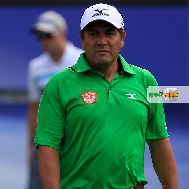 Ricardo Gonzalez (ARG) on the 15th tee during Round 2 of the ISPS HANDA Perth International at the Lake Karrinyup Country Club on Friday 24rd October 2014.<br /> Picture:  Thos Caffrey / www.golffile.ie