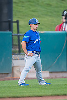 Ogden Raptors manager Jeremy Rodriguez (7) during a Pioneer League game against the Orem Owlz at Home of the OWLZ on August 24, 2018 in Orem, Utah. The Ogden Raptors defeated the Orem Owlz by a score of 13-5. (Zachary Lucy/Four Seam Images)