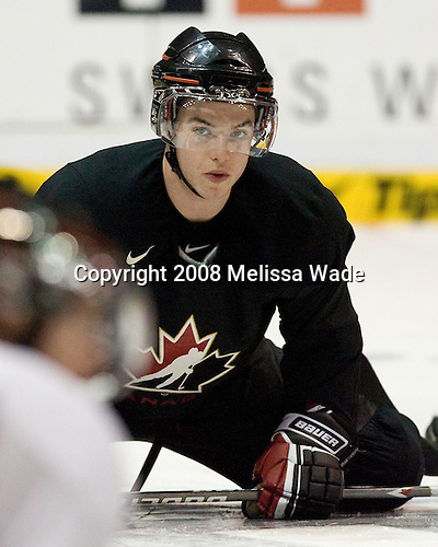 Thomas Hickey (Canada 4) - Team Canada takes part in their morning skate on Friday, January 4, 2008, during the World Junior Championship at CEZ Arena in Pardubice, Czech Republic. Hickey plays for the Seattle Thunderbirds and was drafted fourth overall in 2007 by the Los Angeles Kings.
