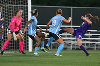Piscataway, NJ - Wednesday Sept. 07, 2016: Caroline Casey, Tasha Kai, Kirstin Grubka, Maddy Evans during a regular season National Women's Soccer League (NWSL) match between Sky Blue FC and the Orlando Pride FC at Yurcak Field.