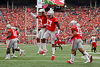 Ohio State Buckeyes linebacker Jerome Baker (17) celebrates his touchdown with Ohio State Buckeyes safety Damon Webb (7) during the 1st quarter at Ohio Stadium in Columbus, Ohio on October 7, 2017.  [Kyle Robertson/Dispatch]