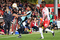 Sido Jombati of Wycombe Wanderers in action during the Sky Bet League 2 match between Stevenage and Wycombe Wanderers at the Lamex Stadium, Stevenage, England on 17 October 2015. Photo by PRiME Media Images.
