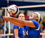 Columbia's Lindsay Wibbenmeyer sets the ball against Althoff, which defeated Columbia in two games in volleyball action on Thursday August 23, 2018.<br /> Tim Vizer/Special to STLhighschoolsports.com