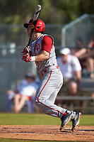 Indiana Hoosiers second baseman Tony Butler (4) at bat during a game against the Illinois State Redbirds on March 4, 2016 at North Charlotte Regional Park in Port Charlotte, Florida.  Indiana defeated Illinois State 14-1.  (Mike Janes/Four Seam Images)