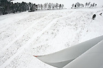 A snow covered field seen from a wind turbine in Kobylnica, Poland.
