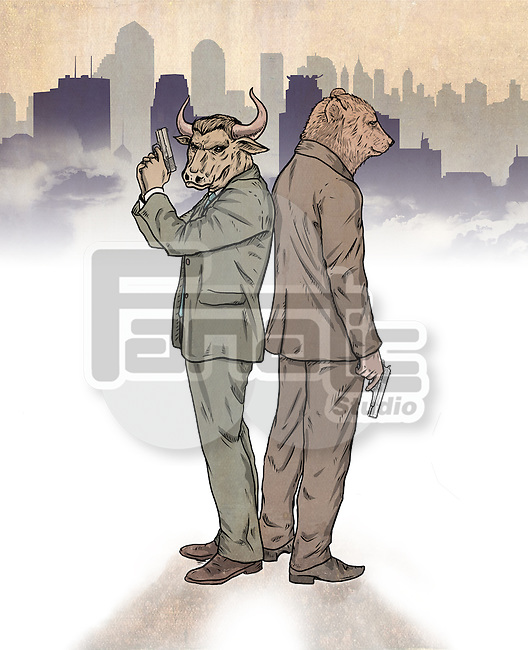Illustrative image of bear and bull standing back to back representing stock market