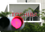 May 15, 2017, Tokyo, Japan - Japanese electronics giant Toshiba's logo is displayed at the Toshiba headquarters in Tokyo on Monday, May 15, 2017. Toshiba estimated net loss of 950 billion yen and 540 bilion yen negative net worth at the end of March.   (Photo by Yoshio Tsunoda/AFLO) LwX -ytd-