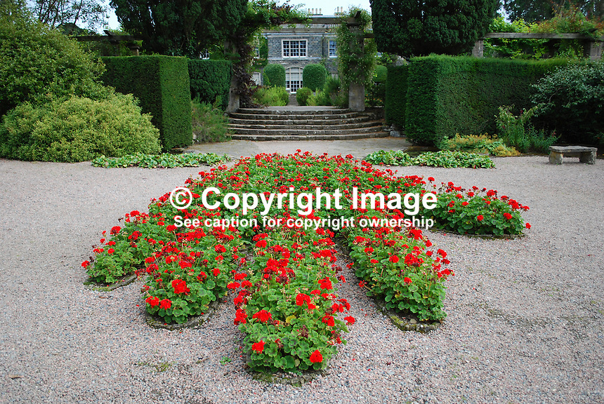 Flowerbed of geraniums in the shape of a Red Hand of Ulster at Mount Stewart, Co Down, N Ireland, UK, National Trust Property. 201108200054.  Copyright Image from Victor Patterson, 54 Dorchester Park, Belfast, United Kingdom, UK...For my Terms and Conditions of Use go to http://www.victorpatterson.com/Victor_Patterson/Terms_%26_Conditions.html