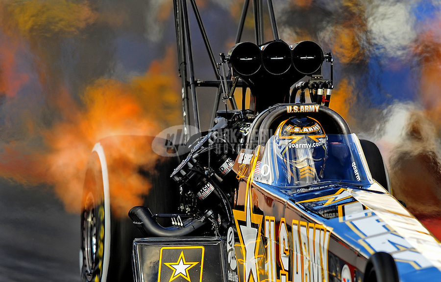 Jan 24, 2009; Chandler, AZ, USA; NHRA top fuel dragster driver Tony Schumacher during testing at the National Time Trials at Firebird International Raceway. Mandatory Credit: Mark J. Rebilas-