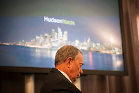 New York Mayor Michael Bloomberg at the groundbreaking ceremony for the long anticipated and controversial Hudson Yards project on the West Side of Manhattan in New York on Tuesday, December 4, 2012. The Hudson Yards, built over the LIRR yards, represents the largest real estate development in New York since Rockefeller Center. When finished the 26 acre site will have over 13 million square feet of commercial, residential and retail space. (© Richard B. Levine)