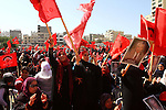 Palestinian supporters of the Democratic Front for the Liberation of Palestine (DFLP) carry flags during a rally celebrating 42 years since its founding in Gaza City, Saturday, Feb. 26, 2011. Founded in 1969 the DFLP is a Palestinian Marxist-Leninist, secular political and military organization. Photo by Ashraf Amra