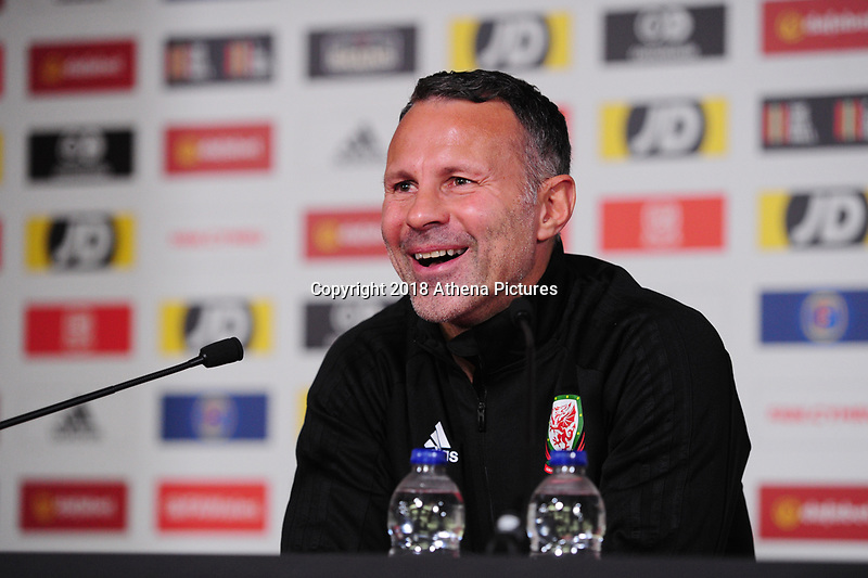 Ryan Giggs Manager of Wales during the Wales Press Conference at The Principality Stadium in Cardiff, Wales, UK. Wednesday 10 October 2018