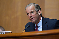 United States Senator John Thune (Republican of South Dakota), questions Internal Revenue Service Commissioner Charles Rettig at a Senate Finance Committee hearing on Capitol Hill in Washington, Tuesday, June 30, 2020, on the 2020 filing season and COVID-19 recovery.<br /> Credit: Susan Walsh / Pool via CNP /MediaPunch