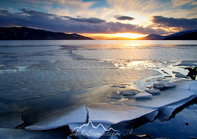 Idaho, North, Bonner County, Sandpoint. Ice thaws on Oden Bay of Lake Pend Oreille under evening sun.