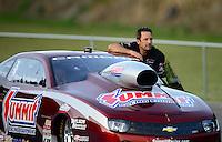 Jun. 15, 2012; Bristol, TN, USA: NHRA pro stock driver Greg Anderson during qualifying for the Thunder Valley Nationals at Bristol Dragway. Mandatory Credit: Mark J. Rebilas-