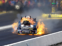 May 19, 2018; Topeka, KS, USA; NHRA funny car driver Matt Hagan explodes his engine on fire during qualifying for the Heartland Nationals at Heartland Motorsports Park. Mandatory Credit: Mark J. Rebilas-USA TODAY Sports