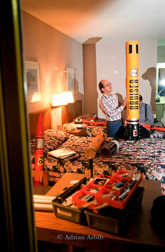 Lovett Reddick  preparing his rocket in the Best Western Inn in Manchester Tennessee the night before a mass rocket launch.