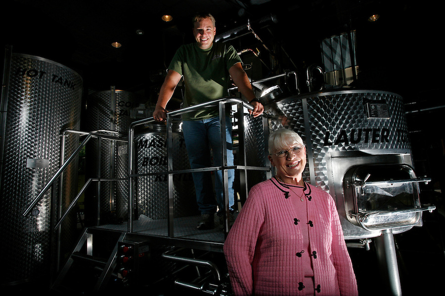 YBOR CITY, FL-.Vicki Doble, owner of Tampa Bay Brewing Co. in Ybor City, with her son David Doble, the establishment's resident brewmaster.