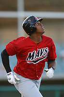 April 19 2009: Carlos Peguero of the High Desert Mavericks during game against the Lancaster JetHawks at Clear Channel Stadium in Lancaster,CA.  Photo by Larry Goren/Four Seam Images