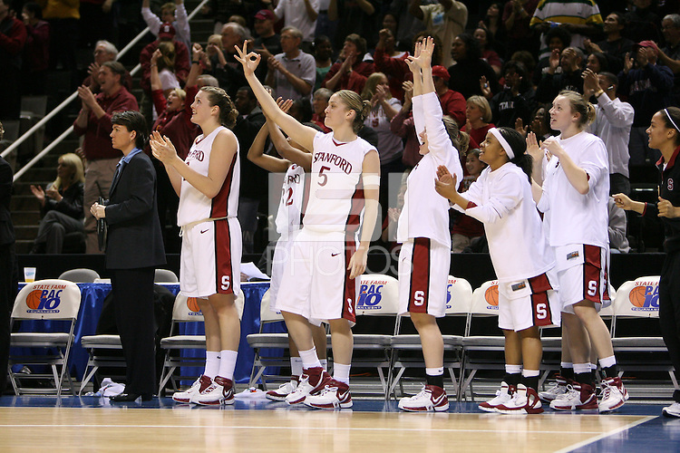 5 March 2007: Jayne Appel, Melanie Murphy, Michelle Harrison, Clare Bodensteiner, Markisha Coleman, Christy Titchenal and Rosalyn Gold-Onwude during Stanford's 62-55 win over ASU in the finals of the women's Pac-10 tournament championship at HP Pavilion in San Jose, CA.