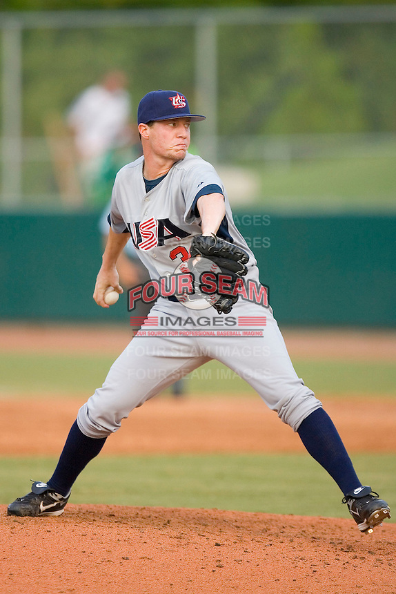 Pitcher Lucas Harrell #34 of Team USA in action versus Team Canada at the USA Baseball National Training Center, September 4, 2009 in Cary, North Carolina.  (Photo by Brian Westerholt / Four Seam Images)