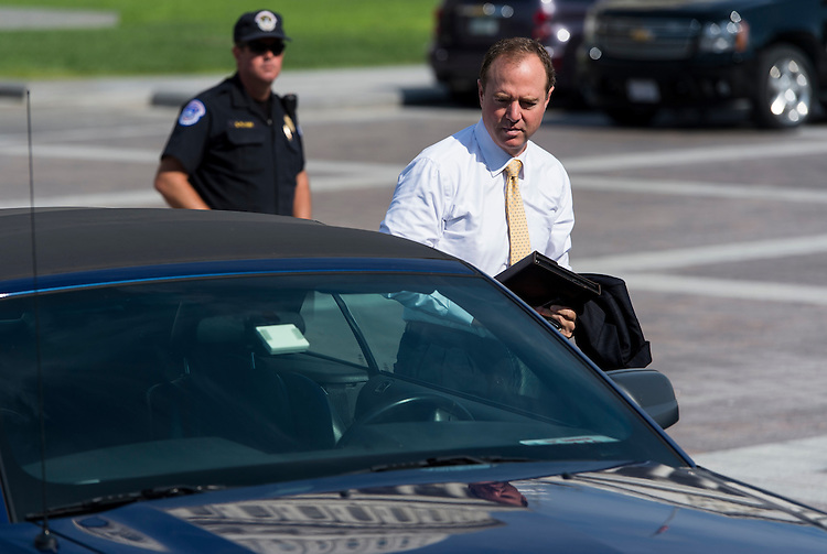 UNITED STATES - JULY 16: Rep. Adam Schiff, D-Calif., parks his car on the East Plaza as he arrives at the Capitol on Wednesday, July 16, 2014. (Photo By Bill Clark/CQ Roll Call)