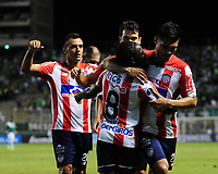 CALI - COLOMBIA - 13 - 07 - 2017: Los jugadores de Atletico Junior, celebran el gol anotado a Deportivo Cali, durante partido de ida de la segunda fase llave 2 entre Deportivo Cali de Colombia y Atletico Junior de Colombia, por la Copa Conmebol Suramericana en el estadio Deportivo Cali (Palmaseca) de la ciudad de Cali. / The players of Atletico Junior celebrate the goal scored to Deportivo Cali, during a match for the first leg between Deportivo Cali of Colombia and Atletico Junior of Colombia, of the second phase key 2 for the Copa Conmebol Suramericana at the Deportivo Cali (Palmaseca) stadium in the city of Cali.  Photo: VizzorImage / Nelson Rios / Cont.