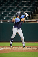 Trenton Thunder designated hitter Devyn Bolasky (9) at bat during the second game of a doubleheader against the Bowie Baysox on June 13, 2018 at Prince George's Stadium in Bowie, Maryland.  Bowie defeated Trenton 10-1.  (Mike Janes/Four Seam Images)